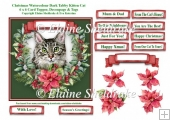 Christmas Poinsettias Watercolour Dark Tabby Cat - 6 x 6 Topper