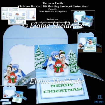 The Snow Family A Box Card Kit With Instructions & Envelope