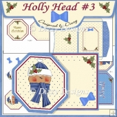 Holly Head #3 Octagon Tag Card