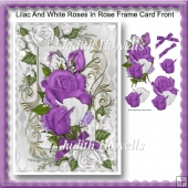 Lilac And White Roses In Rose Frame Card Front