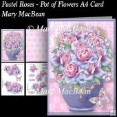 Pastel Roses - Pot of Flowers A4 Card