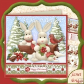 Hoppy Christmas Rabbits 8x8 Decoupage Kit