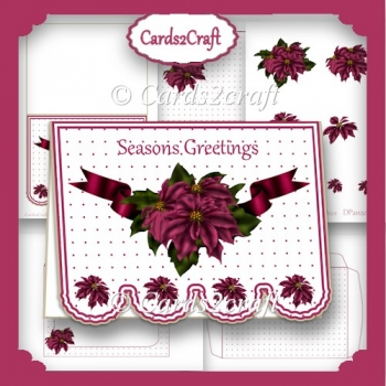 Fancy bottom pink poinsettia card set