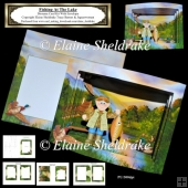 Fishing At The Lake - Diorama Tunnel Card Kit With Envelope