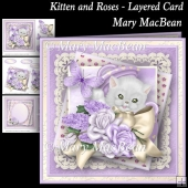Kitten and Roses Layered Card