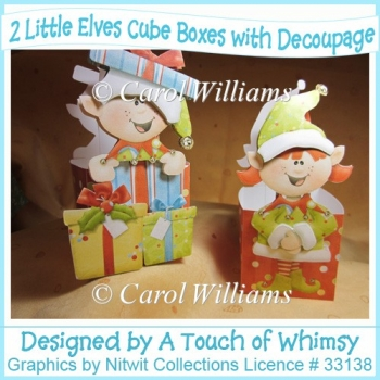 2 Little Elves Cube Boxes/Baskets with Decoupage
