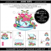 Summer Cup: Dragonflies and Lilies Teacup Cradle Card