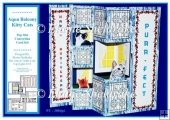 Aqua Balcony Kitty Cats - Pop Out Concertina Card Kit