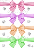 pretty pastel big bows with diamonds set one