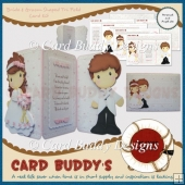 Bride & Groom Shaped Tri Fold Card Kit
