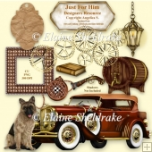 Just For Him A Designers Resource With Vintage Car CU PNG 300dpi