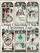 Mint Chocolate Chip Christnas Tags for Gifts and Cards