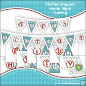 Stuffed Dragons Movie Night Bunting