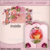 Scallloped Gatefold Card Rose