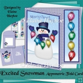 Excited Snowman Asymmetric Fold Card
