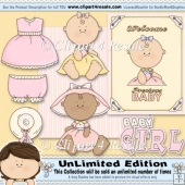 Baby Girl Clothes 2 ClipArt Graphic Collection