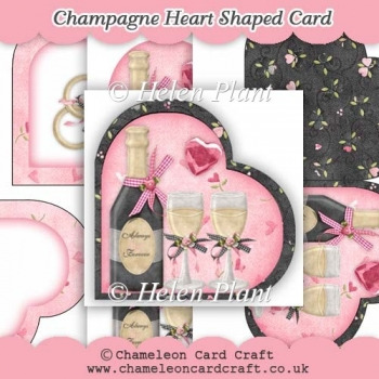 Champagne Heart Shaped Card