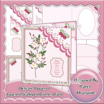 Delicate Flowers 1 Layered Scallop Corner Card