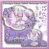 Champagne Glasses Gatefold Decoupage Card Kit