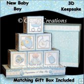 New Baby Boy 3D Keepsake Blocks