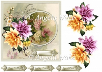 Summer dahlias 7x7 card with decoupage