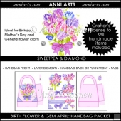 Birth Flowers and Gems April: Handbag Packet