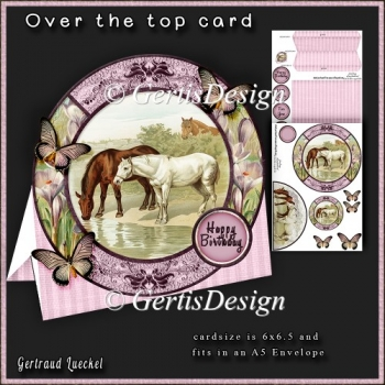 Over the Edge Round Card Kit vintage horses