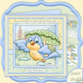 Under the Weather Birdie 8x8 Get Well Decoupage Kit