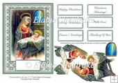 Victorian Style Nativity Scene On Lace 7 x 5 Card With Decoupage