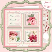 SHABBY CHIC ROSE SQUARES 7.5 Quick Layer Card & Insert Kit