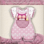 Baby Romper Suite Shaped Card sleepy pink Owl