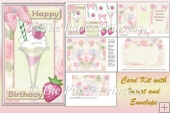 Raspberry Desert Birthday Card with insert and envelope