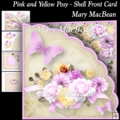 Pink and Yellow Posy - Shell Front Card