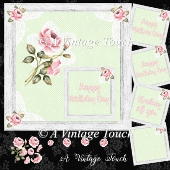 Pink Roses n lace Birthday, Mothers Day card kit with Decoupage