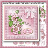Apple Blossoms In Pink With Lace Card Front