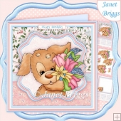 CUTE PUPPY & SPRING BOUQUET 8x8 Decoupage & Insert Kit