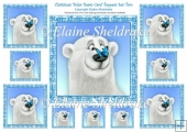 Polar Bear & Butterfly - Ten Card Christmas or Birthday Toppers