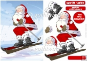 Skiing Santa With Matching Insert