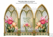 Triple Gothic Arch Folding Screen With Bearded Iris Flowers