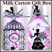 Cottage Chic Happy Birthday Milk Carton Gift Box