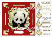 Red & Gold Chinese Giant Panda 7.5 x 7.5 Card Topper + Decoupage