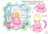 Blonde Birthday Princess With Castle - 7 x 7 Topper & Decoupage