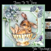 Bunny in a Teacup Card Front Kit