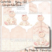 Congratulations Baby Girl - Gate Fold Card