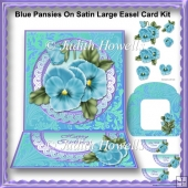 Blue Pansies On Satin Large Easel Card Kit