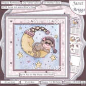 LOVE YOU TO THE MOON & BACK Monkey 7.5 Decoupage & Insert Kit