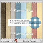 Gingham Backing Papers - Beach Colours