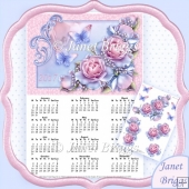 Delicate Roses 2017 A4 UK Calendar with Decoupage Mini Kit