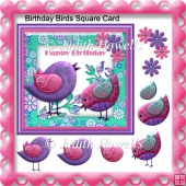 Birthday Birds Square Card