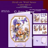 Birds on Wild Roses - 3-Sheet mini-kit